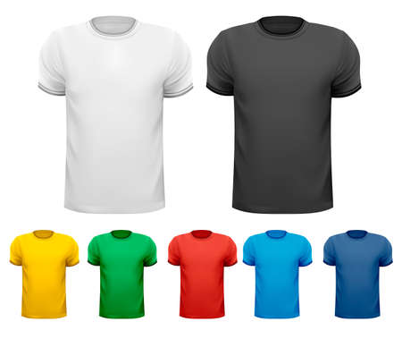 raglan: Black and white and color men t-shirts  Design template   Illustration