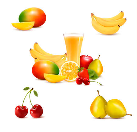Group of summer and tropical fruit Stock Vector - 19508044