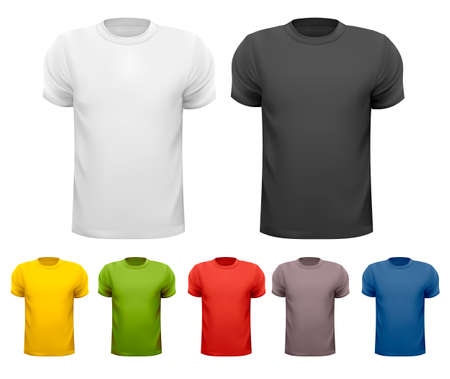 man t shirt: Black and white and color men t-shirts  Design template  Vector Illustration