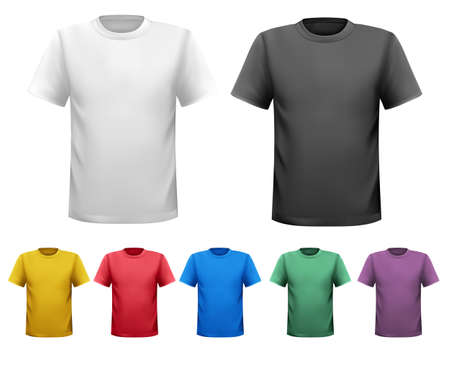 raglan: Black and white and color men t-shirts  Design template  Vector Illustration
