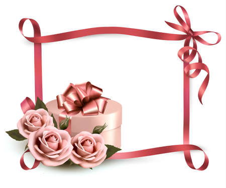 Holiday background with three roses and gift box and ribbon    Vector