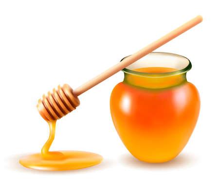 Tarro de miel y una varilla Vector