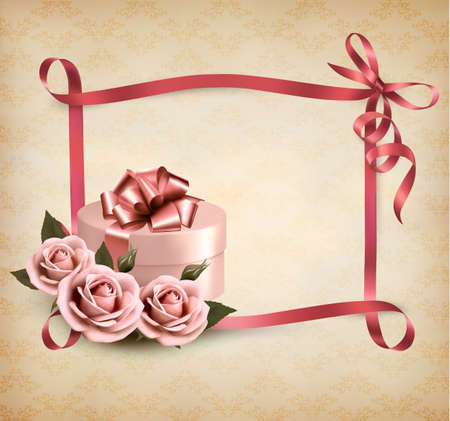Holiday background with three roses and gift box and ribbon. Vector