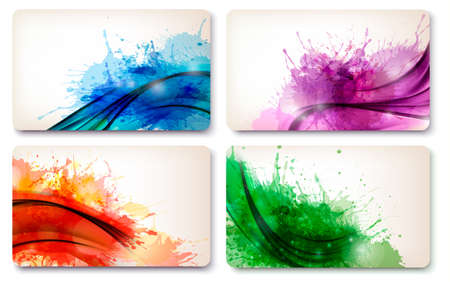 Collection of colorful abstract watercolor cards  Vector  Stock Vector - 19752465