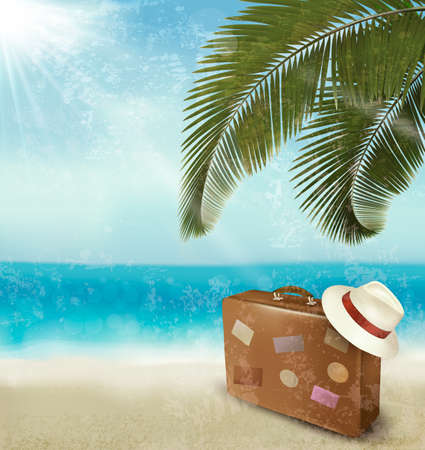 Vintage beautiful seaside background with suitcase and a hat. Vector  Vector