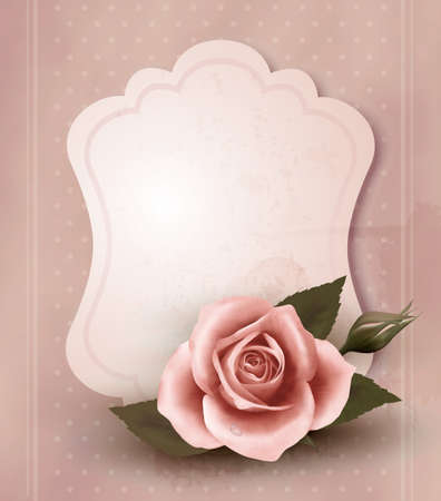 rosa: Retro greeting card with pink rose. Vector illustration