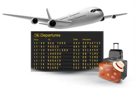 mechanical panel: Travel background with mechanical departures board and airline.  Illustration