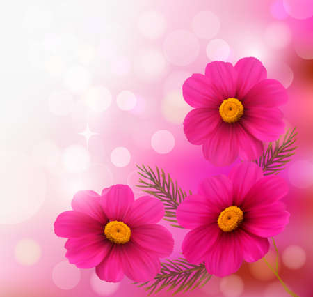 Holiday background with three pink flowers.Vector illustration Stock Vector - 19803167