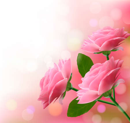 Holiday background with three pink flowers.