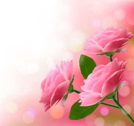 róża: Holiday tÅ'a z trzech różowych kwiatów.