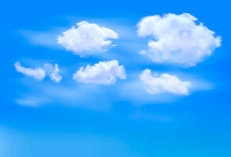 stratosphere: Blue sky with clouds. Vector background.