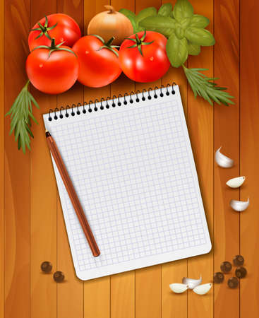 recipe: Fresh vegetables and spices on a wooden background and notebook for notes. Vector