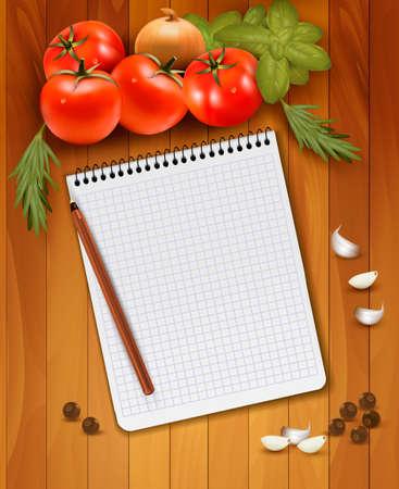 Verse groenten en kruiden op een houten achtergrond en notebook voor notities. Vector