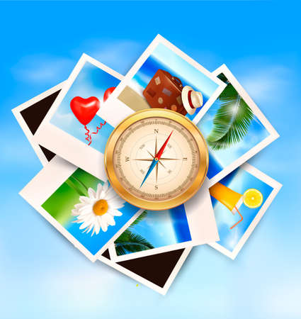 Background  with travel photos and  compass. Vector Vector