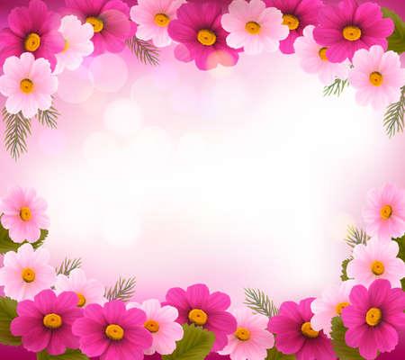 cenefas flores: Marco de vacaciones con coloridas flores.