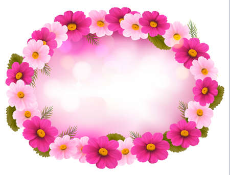 Holiday frame with colorful flowers. Vector Stock Vector - 19803310