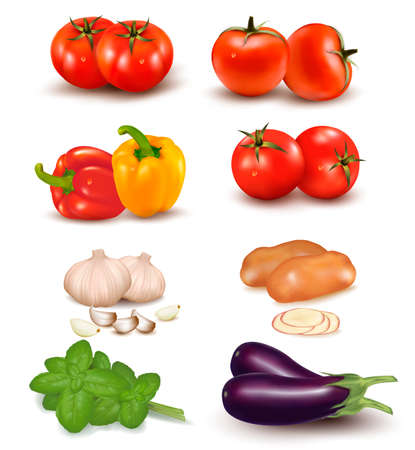 garlic clove: The big colorful group of vegetables.
