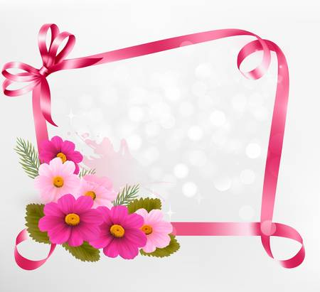 Holiday background with colorful flowers and ribbons. Vector illustration.  Vector
