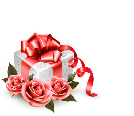 photoalbum: Holiday background with pink roses and gift box