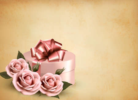 Holiday retro background with pink roses and gift box. Vector illustration  Stock Vector - 19902304