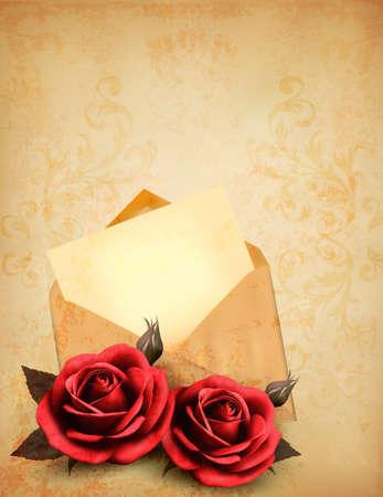 enveloppe ancienne: Deux roses devant une vieille enveloppe avec une lettre. Love concept de lettre. Vector.