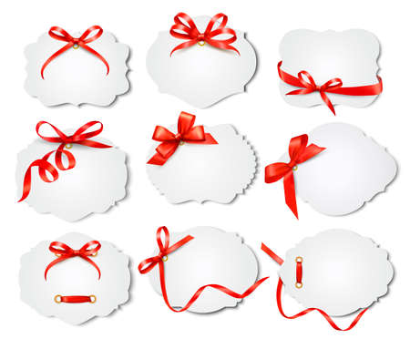 Set of beautiful cards with red gift bows with ribbons. Vector Stock Vector - 19890711