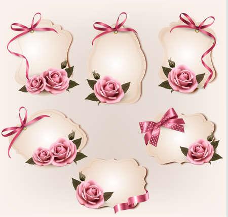 rosas rosadas: Conjunto de hermosas etiquetas retro con rosas de color rosa y arcos de regalo. Ilustraci�n del vector. Vectores
