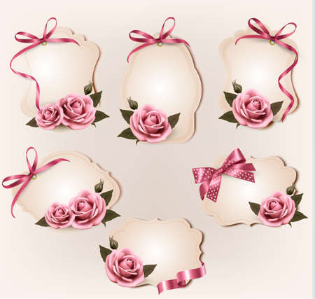 pink bow: Set of beautiful retro labels with pink rose and gift bows. Vector illustration.  Illustration
