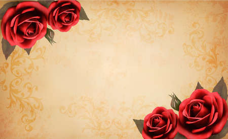 rosa: Retro background with beautiful red rose and old paper. Vector illustration