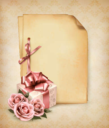 Retro holiday background with pink roses and gift box and old paper. Vector illustration.  Vector