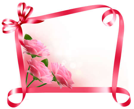 birthday flowers: Holiday background. Colorful flowers with pink bow and ribbon. Illustration