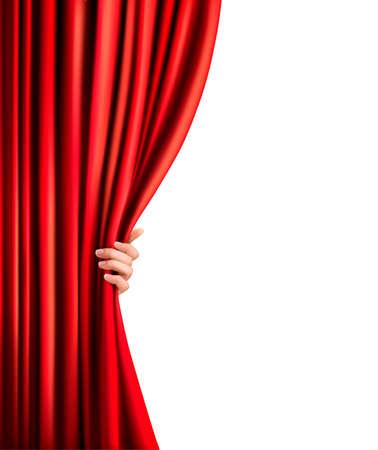 赤いベルベットのカーテンおよび手の図の背景。