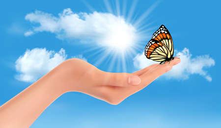 arthropod: Hand holding a butterfly against a blue sky and sun. Vector illustration.