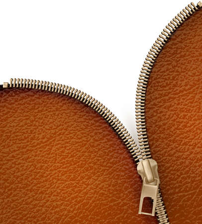 unzipped: Brown leather texture background with zipper illustration  Illustration