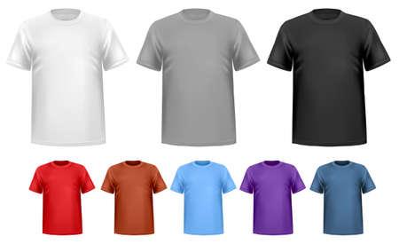 In bianco e nero ea colori uomini t-shirt. Modello di progettazione. Vettore Archivio Fotografico - 20192921
