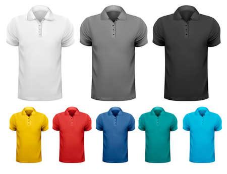 ポロ: 黒と白と色の男性 t シャツ。デザイン テンプレートです。ベクトル