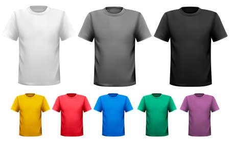 button front: Black and white and color men t-shirts. Design template. Vector