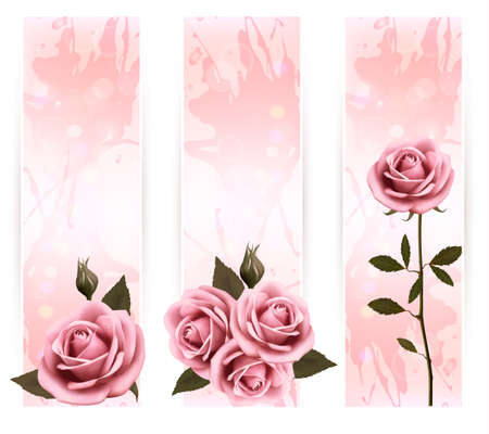 Three holiday banners with pink beautiful roses.
