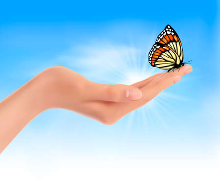 Hand holding a butterfly against a blue sky. Vector illustration.  Illustration