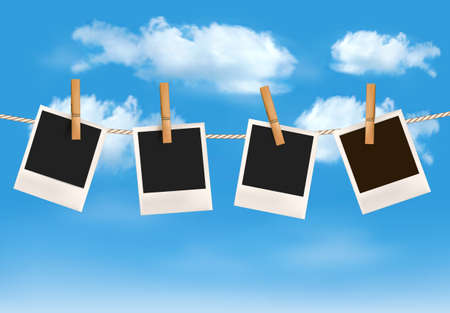 clothesline: Background with photos hanging on a rope in front of a blue sky with clouds.  Illustration