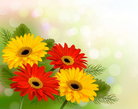 Nature background with colorful beautiful flowers illustration  Illustration