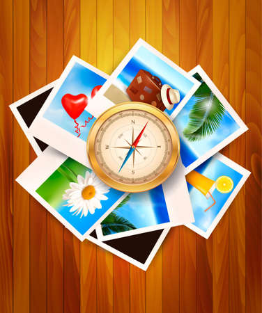 multiple image: Travel photos and compass on wood background illustration.