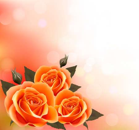 flor: Vacaciones de fondo con tres hermosas flores. Vectores