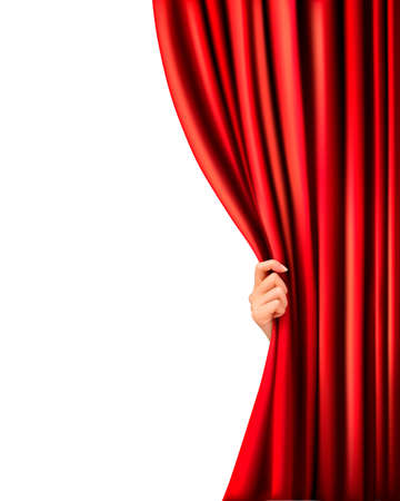 Background with red velvet curtain and hand illustration. Vector