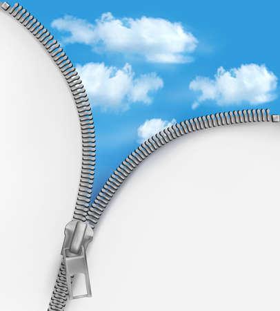 オープンエア: ジッパーと曇り空と抽象的な背景。