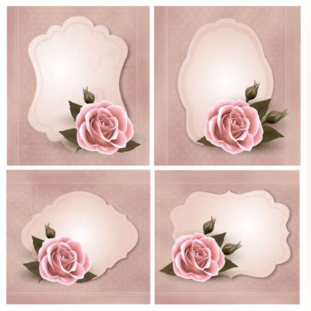Collection of retro greeting cards with pink rose illustration.
