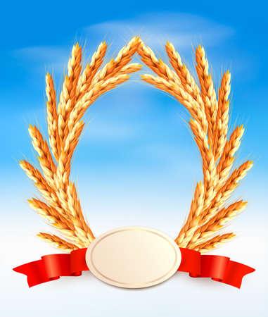 thresh: Orejas de trigo amarillo madura con fondo cintas rojas