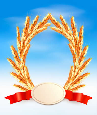 Ripe yellow wheat ears with red ribbons background Stock Vector - 20193249