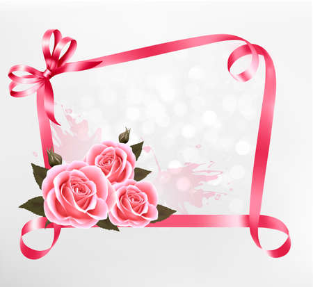 Holiday background. Colorful flowers with pink bow and ribbon.  Ilustração