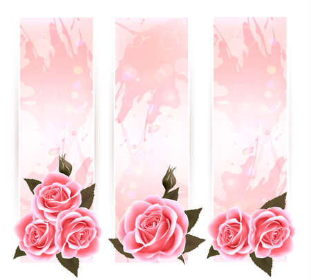 roses background: Holiday banners with pink beautiful roses.